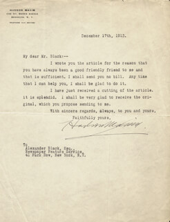 HUDSON MAXIM - TYPED LETTER SIGNED 12/17/1913