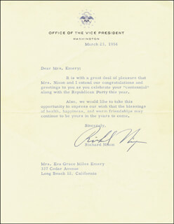 PRESIDENT RICHARD M. NIXON - TYPED LETTER SIGNED 03/23/1954