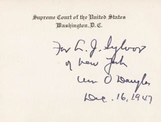 ASSOCIATE JUSTICE WILLIAM O. DOUGLAS - INSCRIBED SUPREME COURT CARD SIGNED 12/16/1947