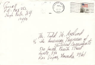 PAT CARROLL - AUTOGRAPH ENVELOPE SIGNED 07/30/1984