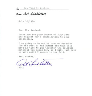 ART LINKLETTER - TYPED LETTER SIGNED 07/30/1984