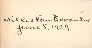 ASSOCIATE JUSTICE WILLIS VAN DEVANTER - AUTOGRAPH 06/08/1929