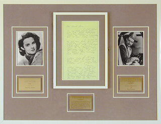 Autographs: HOWARD HUGHES - AUTOGRAPH NOTE SIGNED CO-SIGNED BY: JEAN PETERS