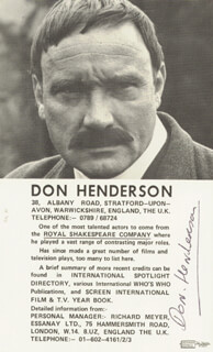 DON HENDERSON - PRINTED PHOTOGRAPH SIGNED IN INK
