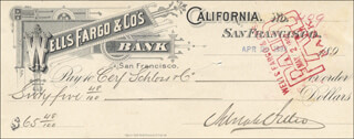 ADOLPH H. SUTRO - AUTOGRAPHED SIGNED CHECK 04/29/1892