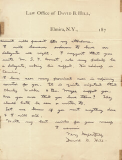 DAVID B. HILL - AUTOGRAPH LETTER SIGNED 08/24/1874