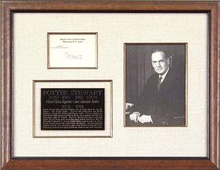 Autographs: ASSOCIATE JUSTICE POTTER STEWART - SUPREME COURT CARD SIGNED
