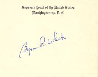 Autographs: ASSOCIATE JUSTICE BYRON R. WHITE - SUPREME COURT CARD SIGNED