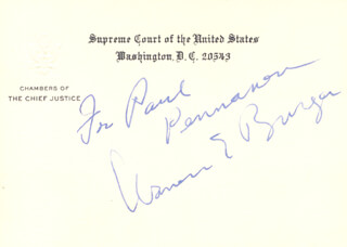 CHIEF JUSTICE WARREN E. BURGER - INSCRIBED SUPREME COURT CARD SIGNED