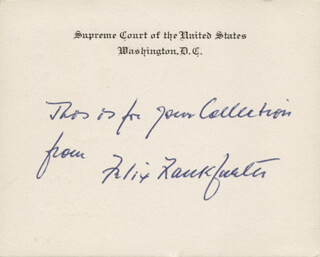 ASSOCIATE JUSTICE FELIX FRANKFURTER - AUTOGRAPH NOTE ON SUPREME COURT CARD SIGNED 07/02/1954