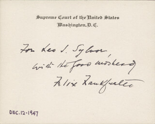 ASSOCIATE JUSTICE FELIX FRANKFURTER - INSCRIBED SUPREME COURT CARD SIGNED