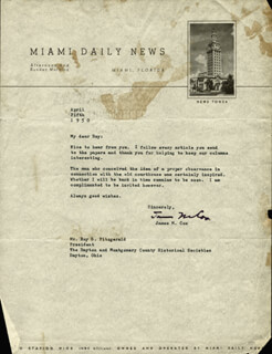 JAMES COX - TYPED LETTER SIGNED 04/05/1950