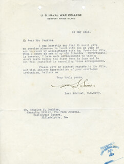 ADMIRAL WILLIAM S. SIMS - TYPED LETTER SIGNED 05/31/1919