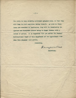Autographs: HENRY C. WALLACE - TYPED LETTER SIGNED 10/14/1922