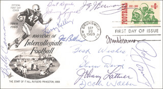 BILLY CONNOR - FIRST DAY COVER WITH AUTOGRAPH SENTIMENT SIGNED CO-SIGNED BY: JOHNNY LUJACK, JOSEPH M. BELLINO, LARRY KELLEY, JOHNNY LATTNER, DOAK WALKER, JAY BERWANGER, TOM HARMON, PAUL V. HORNUNG, GLENN W. DAVIS