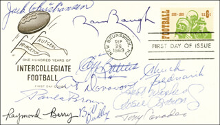 ROSIE BROWN JR. - FIRST DAY COVER WITH AUTOGRAPH SENTIMENT SIGNED CO-SIGNED BY: RAYMOND BERRY, CHUCK BEDNARIK, PAUL E. BROWN, SAMMY BAUGH, JACK CHRISTIANSEN, ART DONOVAN, CLIFF BATTLES, BILL BULLETT BILL DUDLEY, TONY CANADEO - HFSID 36920
