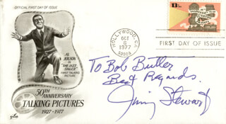 JAMES JIMMY STEWART - FIRST DAY COVER WITH AUTOGRAPH SENTIMENT SIGNED
