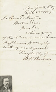BENJAMIN H. BRISTOW - AUTOGRAPH LETTER SIGNED 09/22/1879