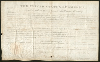 PRESIDENT JAMES MONROE - LAND GRANT SIGNED 03/01/1822 CO-SIGNED BY: JOSIAH MEIGS