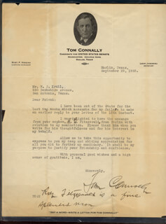 THOMAS T. TOM CONNALLY - TYPED LETTER SIGNED 09/29/1928