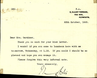 Autographs: LADY NANCY ASTOR - TYPED LETTER SIGNED 10/20/1925