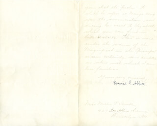 Autographs: HARRIET ABBOTT - MANUSCRIPT LETTER SIGNED 03/10/1894