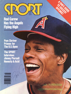 ROD CAREW - MAGAZINE COVER SIGNED  - HFSID 37075
