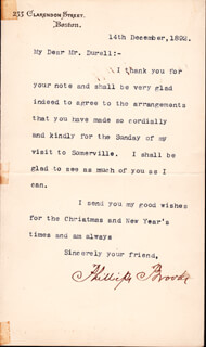 PHILLIPS BROOKS - TYPED LETTER SIGNED 12/14/1892