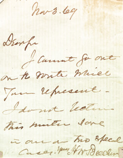 HENRY WARD BEECHER - AUTOGRAPH LETTER SIGNED 11/03/1869