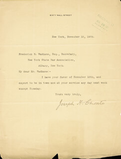 Autographs: JOSEPH H. CHOATE - TYPED LETTER SIGNED 11/18/1909