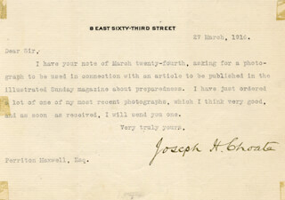 Autographs: JOSEPH H. CHOATE - TYPED LETTER SIGNED 03/27/1916