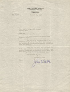 Autographs: JOHN L. CABLE - TYPED LETTER SIGNED 01/14/1942