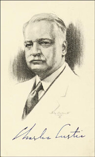 Autographs: VICE PRESIDENT CHARLES CURTIS - PRINTED ART SIGNED