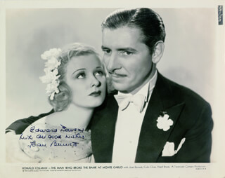 JOAN BENNETT - AUTOGRAPHED INSCRIBED PHOTOGRAPH CIRCA 1935