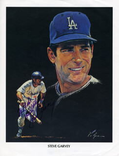 Autographs: STEVE GARVEY - INSCRIBED ILLUSTRATION SIGNED