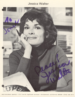 JESSICA WALTER - INSCRIBED PRINTED PHOTOGRAPH SIGNED IN INK