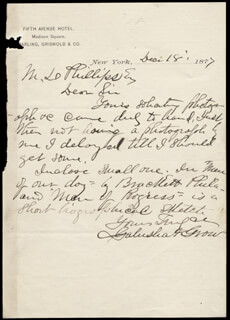 GALUSHA A. GROW - AUTOGRAPH LETTER SIGNED 12/18/1877