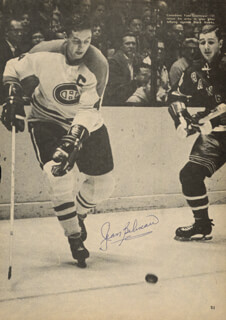 JEAN BELIVEAU - MAGAZINE PHOTOGRAPH SIGNED