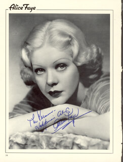 ALICE FAYE - MAGAZINE PHOTOGRAPH SIGNED
