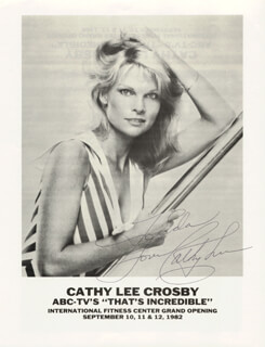 CATHY LEE CROSBY - INSCRIBED PRINTED PHOTOGRAPH SIGNED IN INK