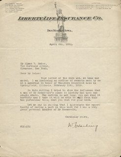 WILLIAM L. HARDING - TYPED LETTER SIGNED 04/06/1922