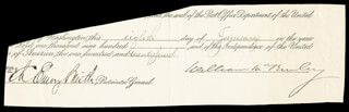 Autographs: PRESIDENT WILLIAM McKINLEY - DOCUMENT FRAGMENT SIGNED 01/08/1900 CO-SIGNED BY: CHARLES EMORY SMITH