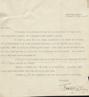 FRED CHARTERS KELLY - TYPED LETTER SIGNED 08/15/1947