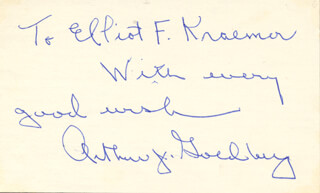 Autographs: ASSOCIATE JUSTICE ARTHUR J. GOLDBERG - INSCRIBED SIGNATURE