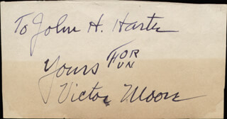 VICTOR MOORE - AUTOGRAPH NOTE SIGNED