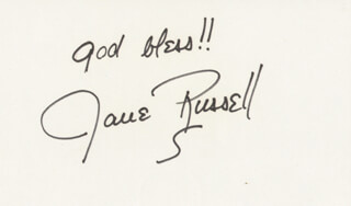 JANE RUSSELL - AUTOGRAPH SENTIMENT SIGNED