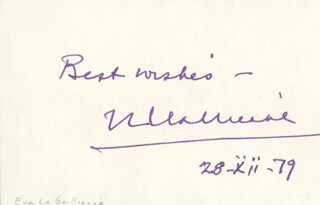 EVA LE GALLIENNE - AUTOGRAPH SENTIMENT SIGNED 12/28/1979