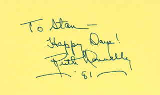 RUTH DONNELLY - INSCRIBED SIGNATURE 1981