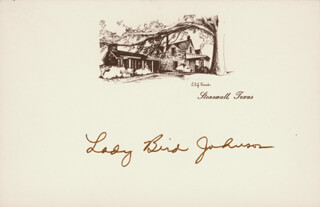 FIRST LADY LADY BIRD JOHNSON - PRINTED CARD SIGNED IN INK