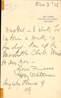 HENRY MARSE HENRY WATTERSON - AUTOGRAPH LETTER SIGNED 12/03/1912